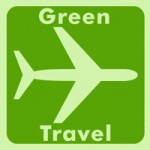 Green travel airplane logo